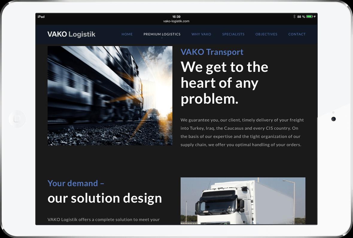 Webseite Vako Logistik