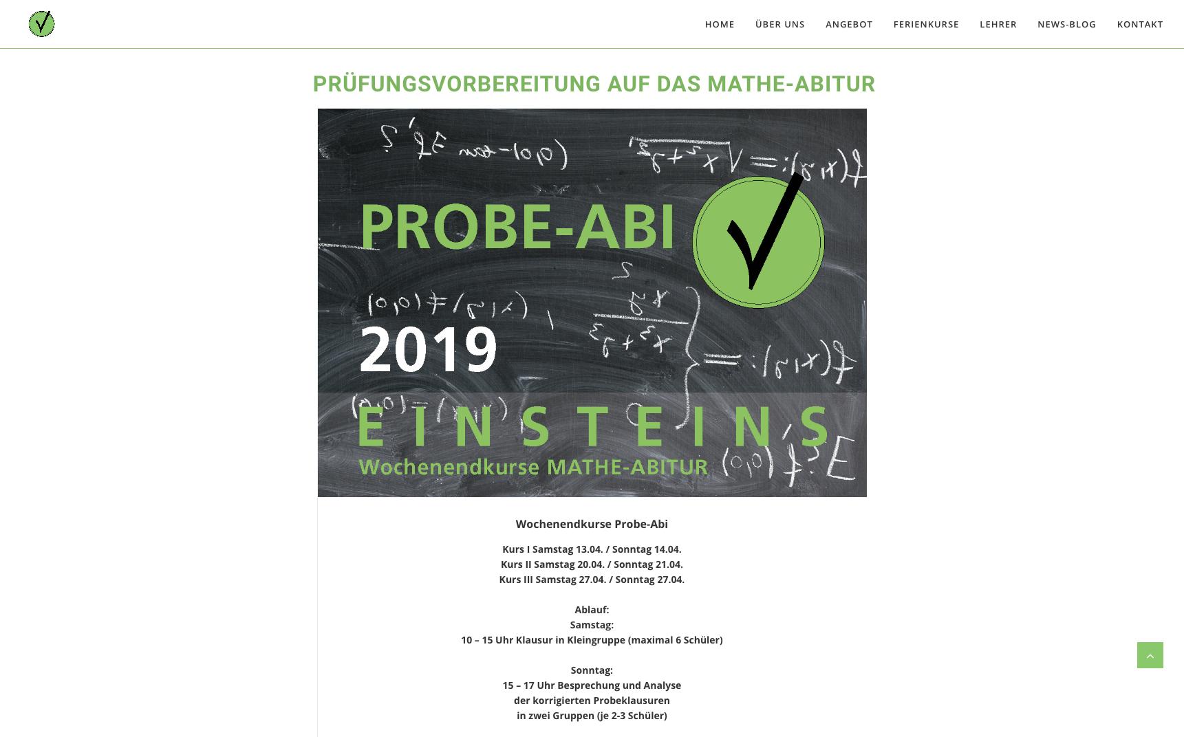 Webdesign für Einsteins Nachhilfe Pullach