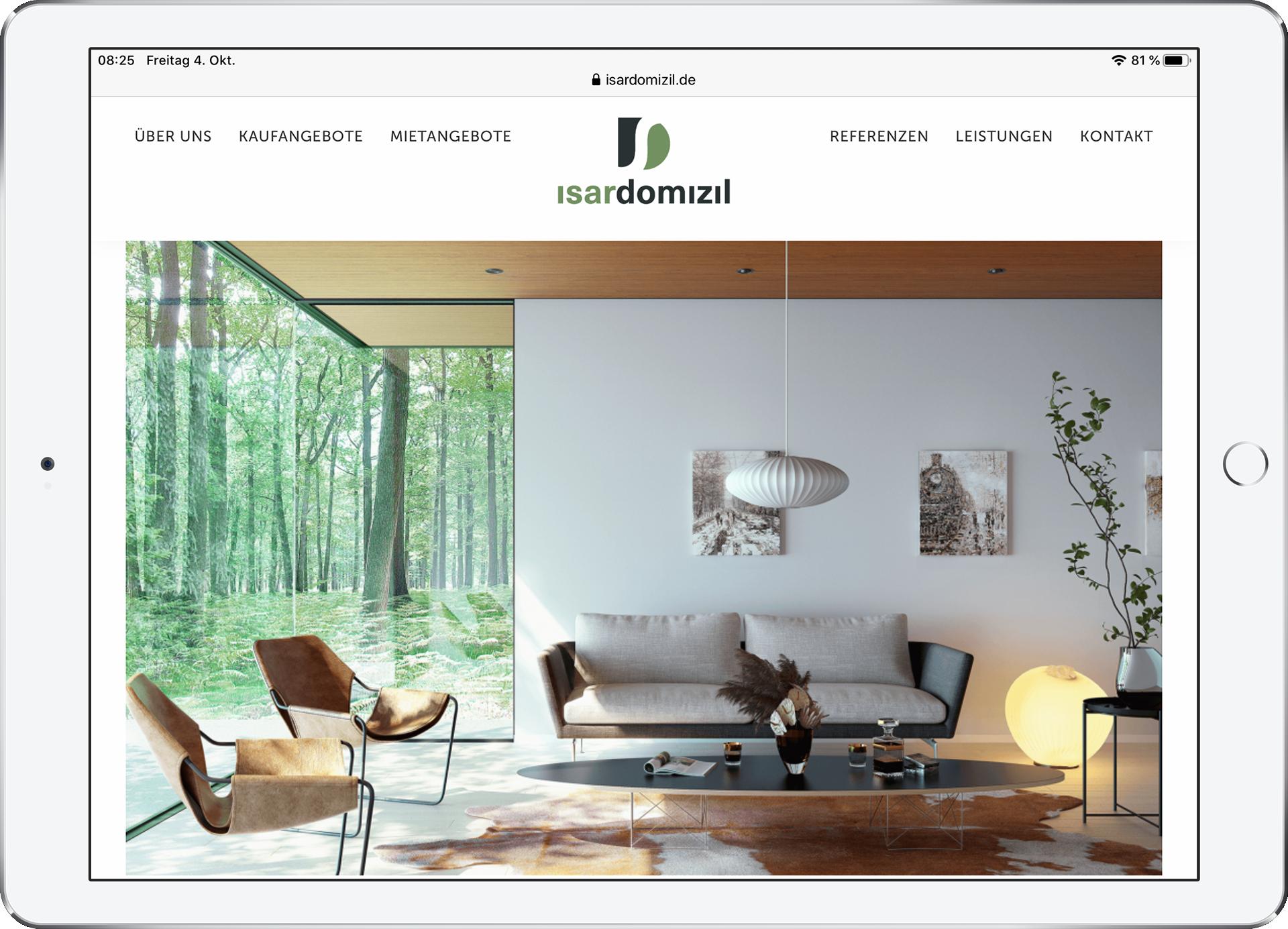 Arbeitsprobe: Webauftritt für isardomizil GmbH, Ebenhausen