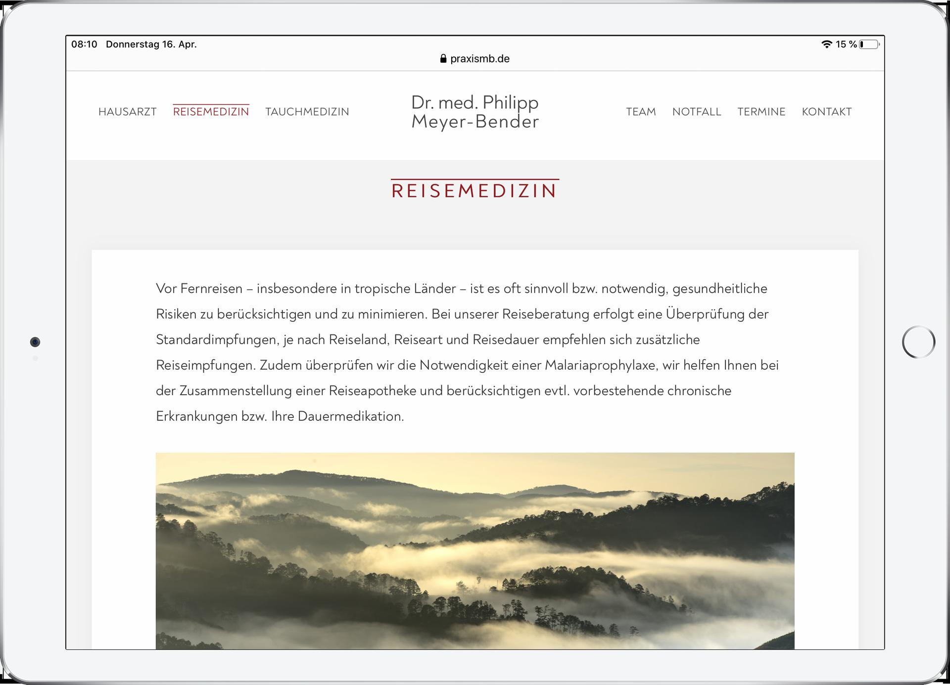 Webseite für Praxis. design by schauer