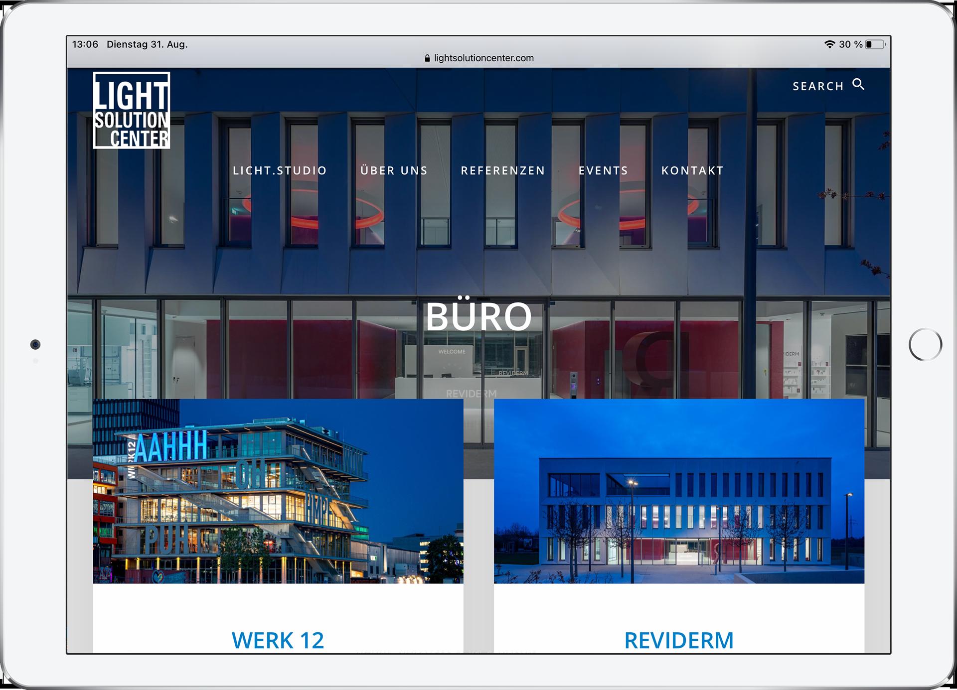 webdesign für light solution center
